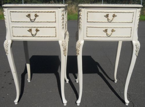 Pair Queen Anne Style Painted Bedside Chests